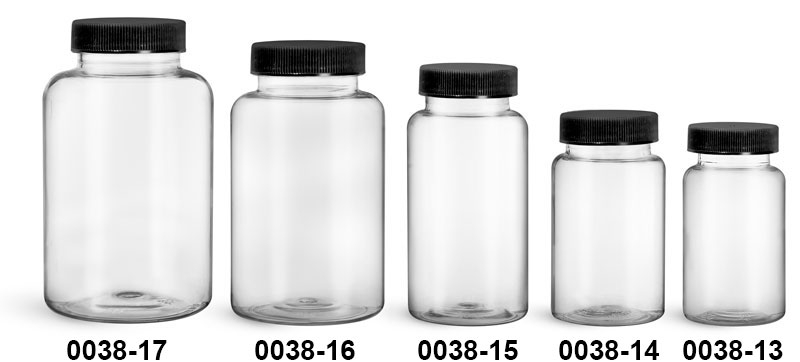 Plastic Bottles, Clear PET Wide Mouth Packer Bottles w/ Black Ribbed PE Lined Caps