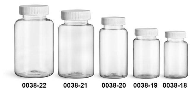 Plastic Bottles, Clear PET Wide Mouth Packer Bottles w/ White Ribbed PE Lined Caps