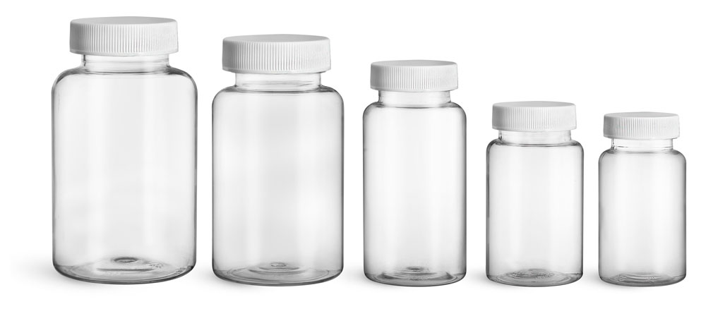PET Plastic Bottles, Clear Wide Mouth Packer Bottles w/ White Ribbed PE Lined Caps