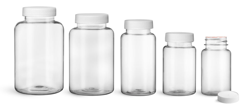 PET Plastic Bottles, Clear Wide Mouth Packer Bottles w/ White Ribbed Induction Lined Caps