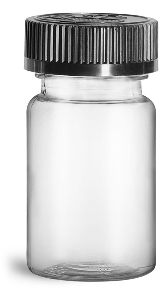 75 cc Plastic Bottles, Clear PET Wide Mouth Packer Bottles w/ Black Child Resistant Caps