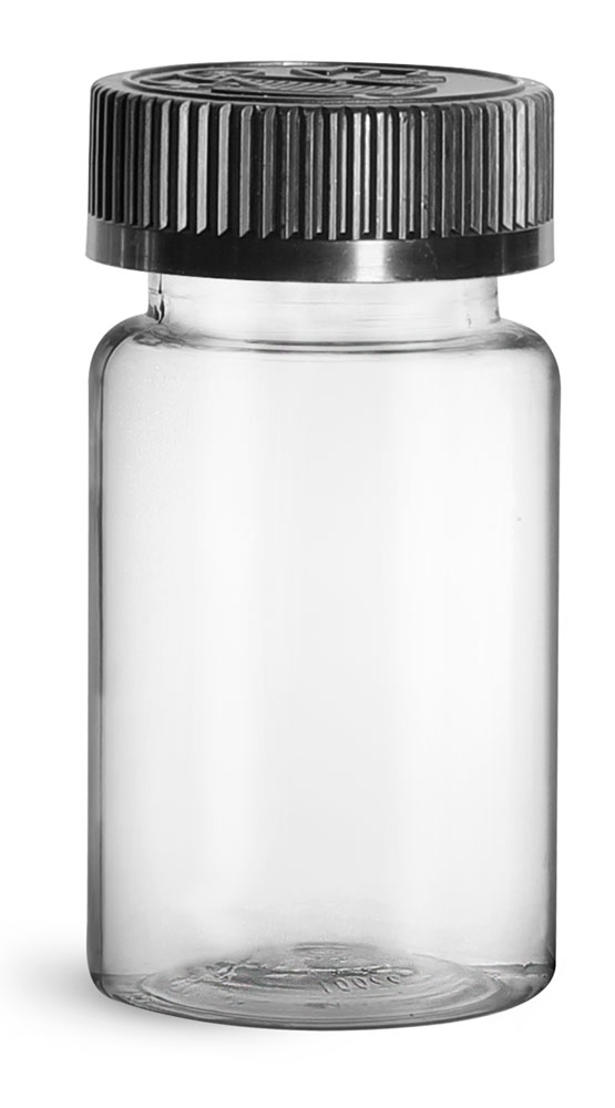 100 cc Plastic Bottles, Clear PET Wide Mouth Packer Bottles w/ Black Child Resistant Caps