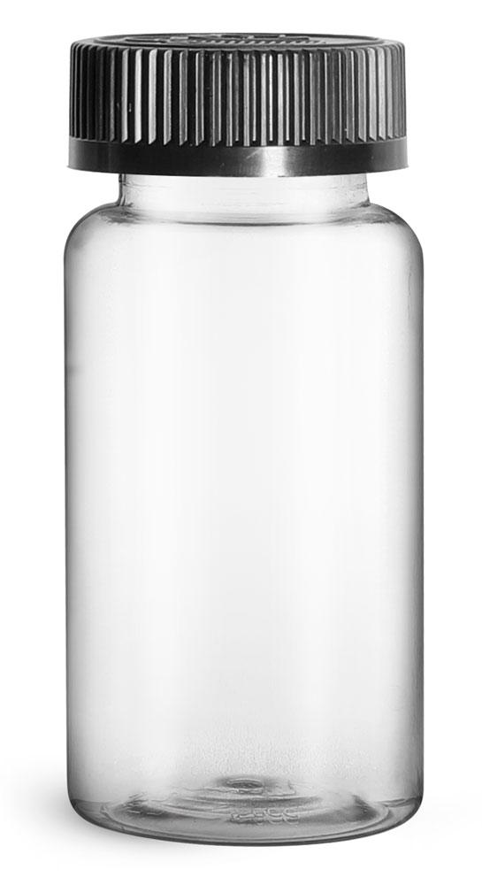 150 cc Plastic Bottles, Clear PET Wide Mouth Packer Bottles w/ Black Child Resistant Caps