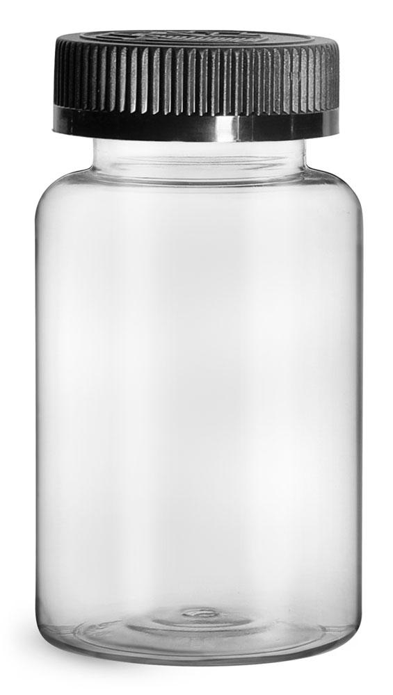 250 cc Plastic Bottles, Clear PET Wide Mouth Packer Bottles w/ Black Child Resistant Caps