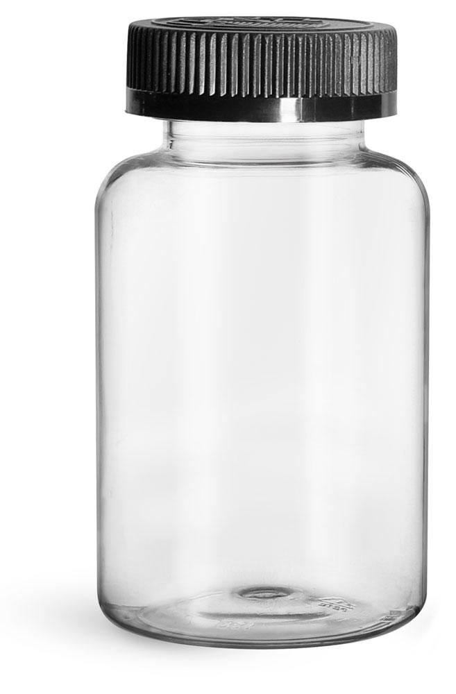 300 cc Plastic Bottles, Clear PET Wide Mouth Packer Bottles w/ Black Child Resistant Caps