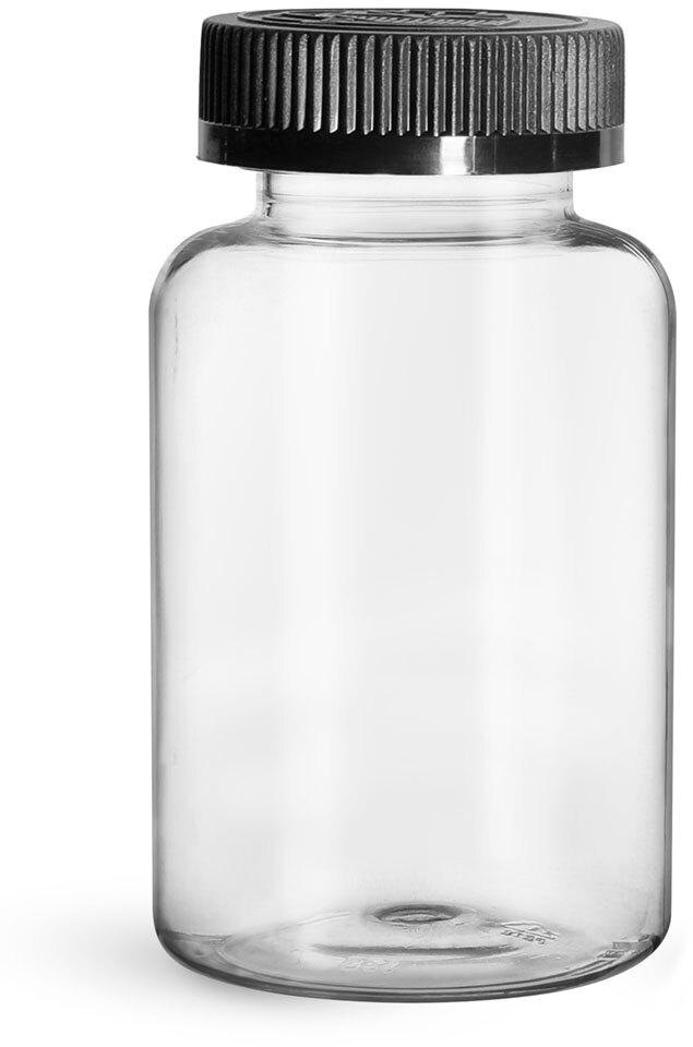 Plastic Bottles, Clear PET Wide Mouth Packer Bottles w/ Black Child Resistant Caps