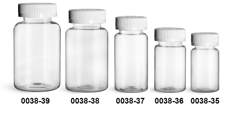 Plastic Bottles, Clear PET Wide Mouth Packer Bottles w/ White Child Resistant Caps