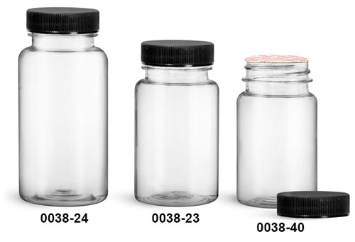 Plastic Bottles, Clear PET Wide Mouth Packer Bottles w/ Black Ribbed Induction Lined Caps