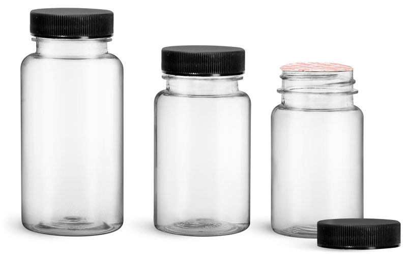 PET Plastic Bottles, Clear Wide Mouth Packer Bottles w/ Black Ribbed Induction Lined Caps