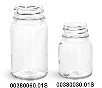 Clear PET Wide Mouth Round Bottles (Bulk), Caps NOT Included