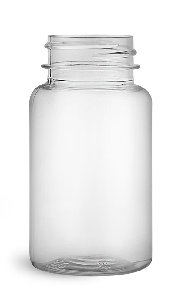 75 cc Clear PET Wide Mouth Packer Bottles, (Bulk) Caps Not Included