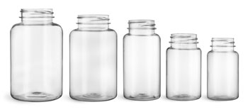 Plastic Bottles, Clear PET Wide Mouth Packer Bottles, (Bulk) Caps Not Included