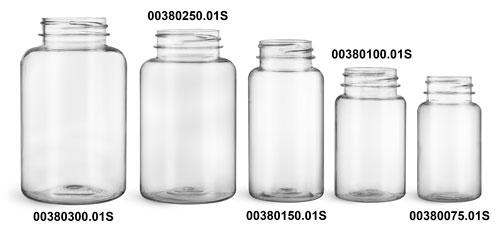 Plastic Bottles, Clear PET Wide Mouth Packer Bottles, (Bulk) Caps Not Included