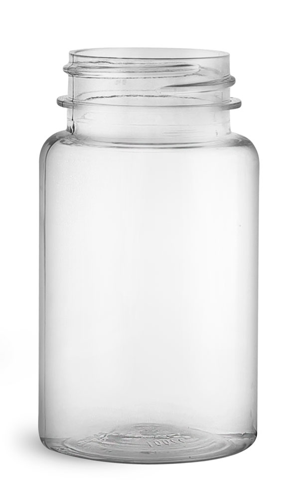 100 cc Clear PET Wide Mouth Packer Bottles, (Bulk) Caps Not Included