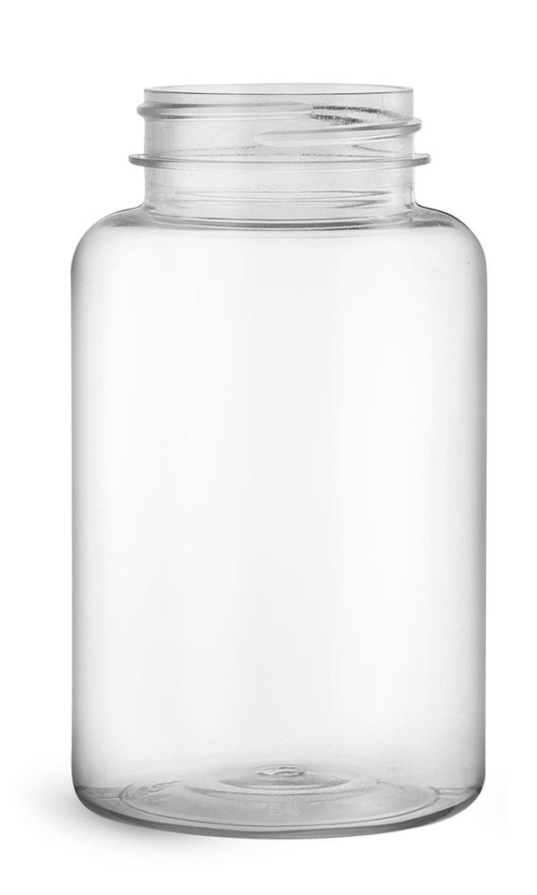 250 cc Clear PET Wide Mouth Packer Bottles, (Bulk) Caps Not Included