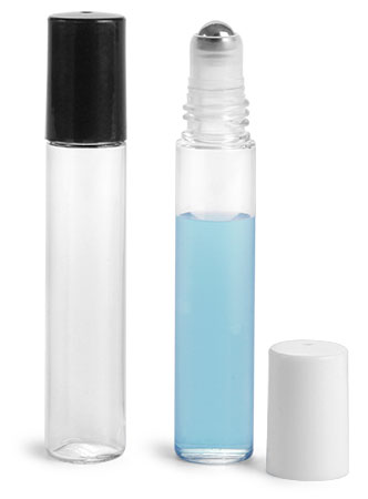 Plastic Vials, Clear PET Roll On Containers w/ Stainless Steel Balls and Caps