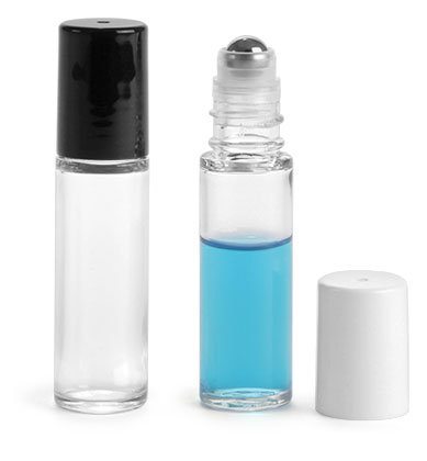 Styrene Plastic Bottles, Clear Roll On Containers w/ Stainless Steel Balls & Polypropylene Caps