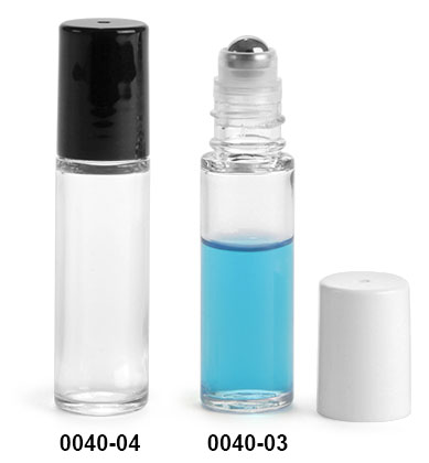Plastic Bottles, 5 ml Clear SAN Roll On Container w/ Stainless Steel Balls & Polypropylene Caps