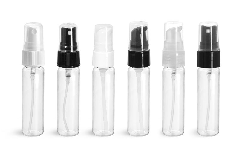 PET Plastic Bottles, Clear Slim Line Cylinders with Sprayers or Pumps