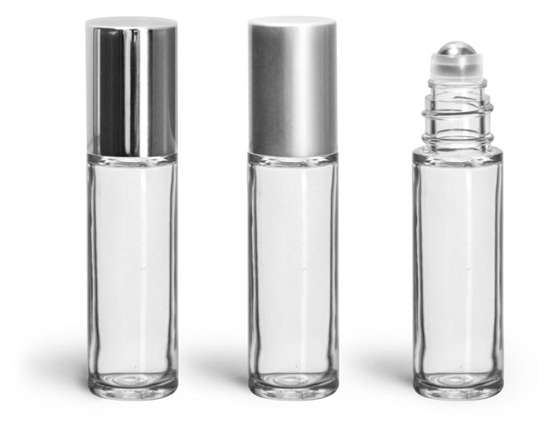 Styrene Plastic Bottles, Clear Roll on Containers w/ Stainless Steel Balls & Silver Polypropylene Caps
