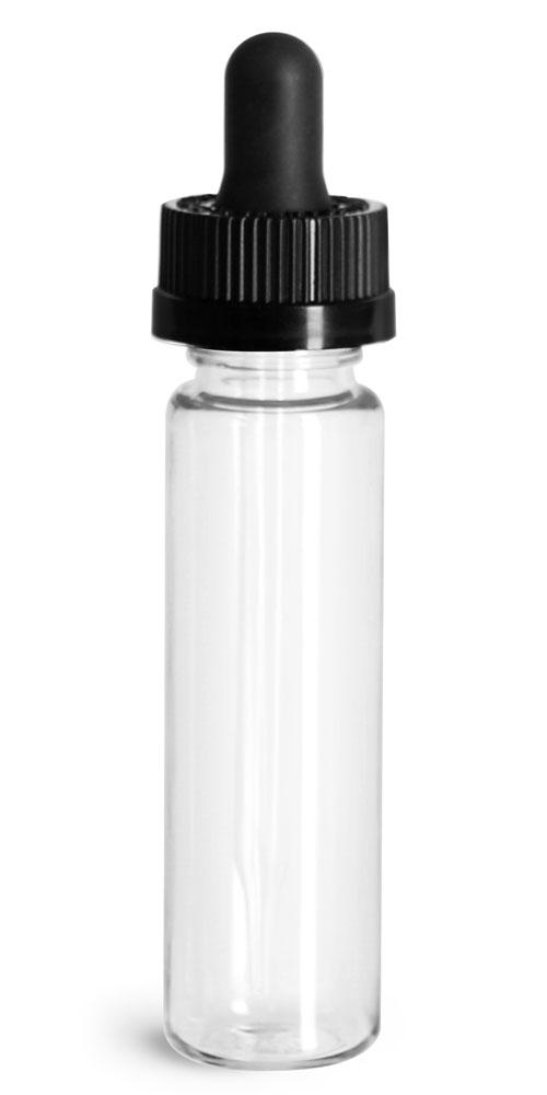 1 oz Plastic Bottles, Clear PET Slim Line Cylinders w/ Black Child Resistant Glass Droppers