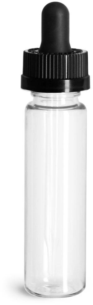 Plastic Bottles, Clear PET Slim Line Cylinders w/ Black Child Resistant Glass Droppers