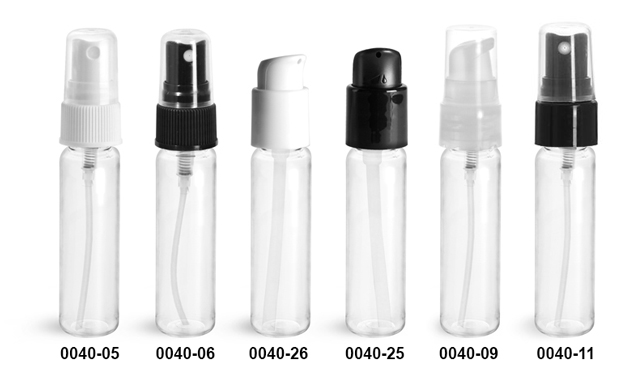 Plastic Bottles, Clear PET Slim Line Cylinders with Sprayers or Pumps