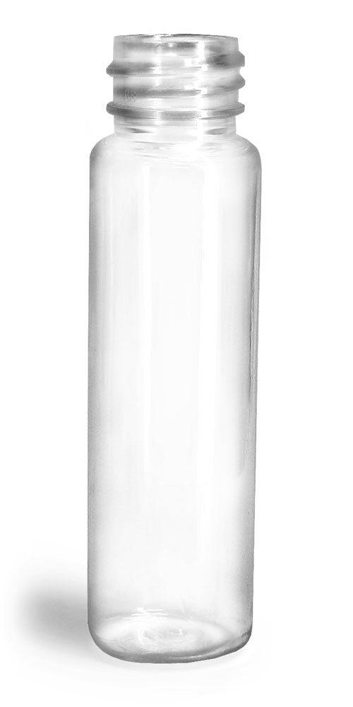 1 oz Clear PET Slim Line Cylinders (Bulk), Caps Not Included