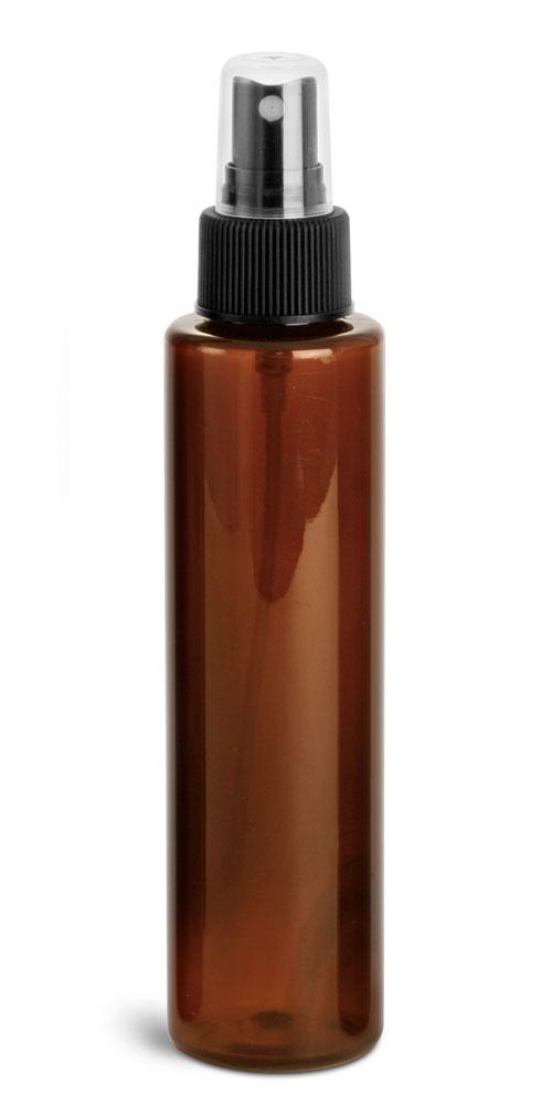 4 oz w/ Black Ribbed Sprayer Amber PET Slim Line Cylinders w/ Black Sprayers