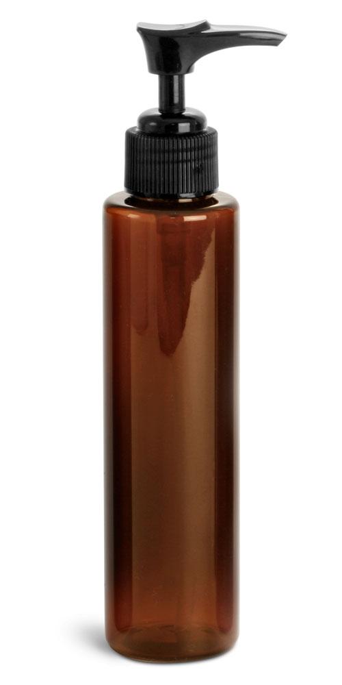 4 oz w/ Black Pump Amber PET Slim Line Cylinders w/ Black Lotion Pumps