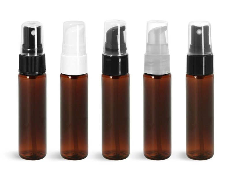 1 oz Amber PET Slim Line Cylinders w/ Sprayers or  Pumps