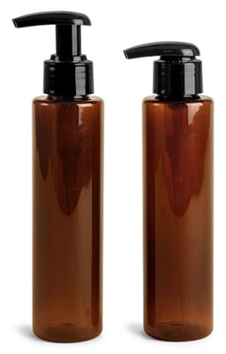 Plastic Bottles, 4 oz Amber PET Slim Line Cylinders w/ Black 2 cc Lotion Pumps