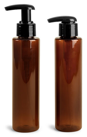 Amber PET Slim Line Cylinders w/ Black 2 cc Lotion Pumps