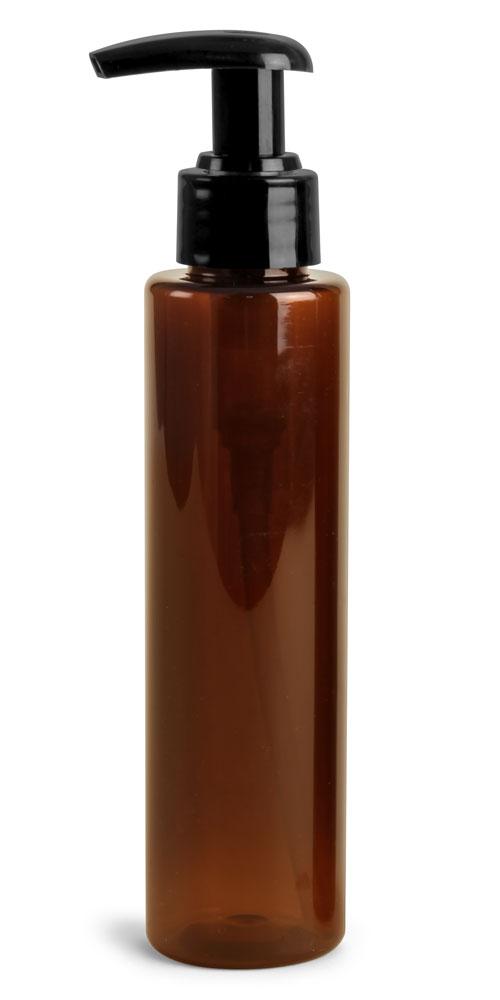 Amber PET Slim Line Cylinders w/ Black 2 cc Lotion Pumps