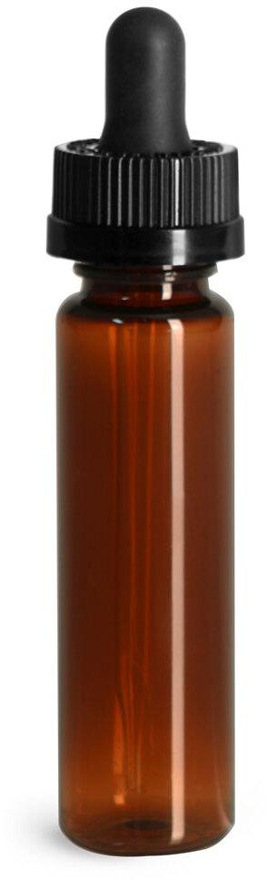 Plastic Bottles, Amber PET Slim Line Cylinders w/ Black Child Resistant Glass Droppers