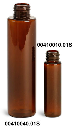 Amber PET Slim Line Cylinders (Bulk), Caps NOT Included