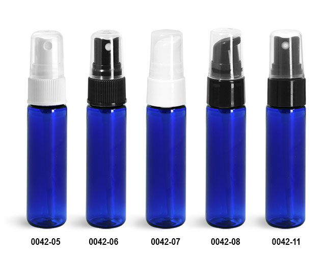 Plastic Bottles, Blue PET Slim Line Cylinders With Sprayers Or Pumps