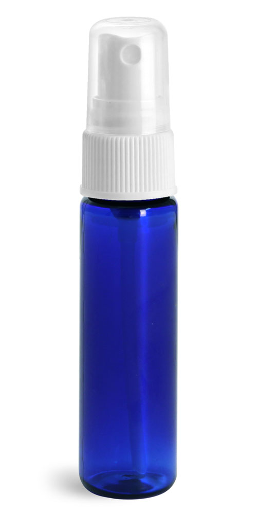 1 oz w/ White Ribbed Sprayers Blue PET Slim Line Cylinders w/ White Sprayers
