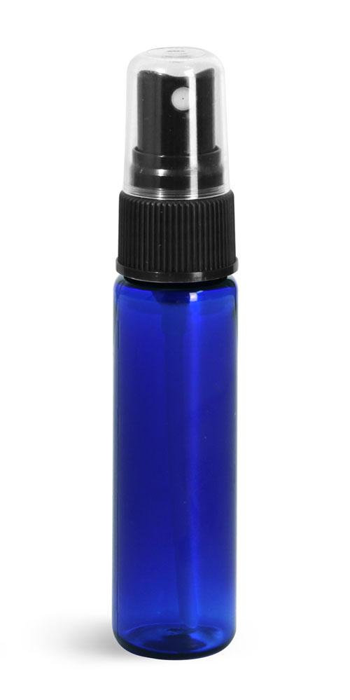 1 oz w/ Black Ribbed Sprayers Blue PET Slim Line Cylinders w/ Black Sprayers