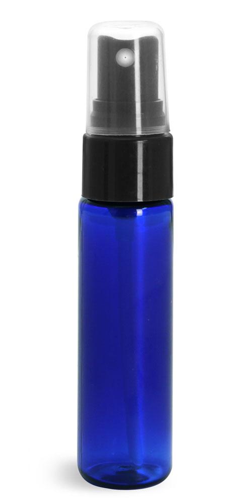 1 oz w/ Black Smooth Sprayers Blue PET Slim Line Cylinders w/ Sprayers or Pumps