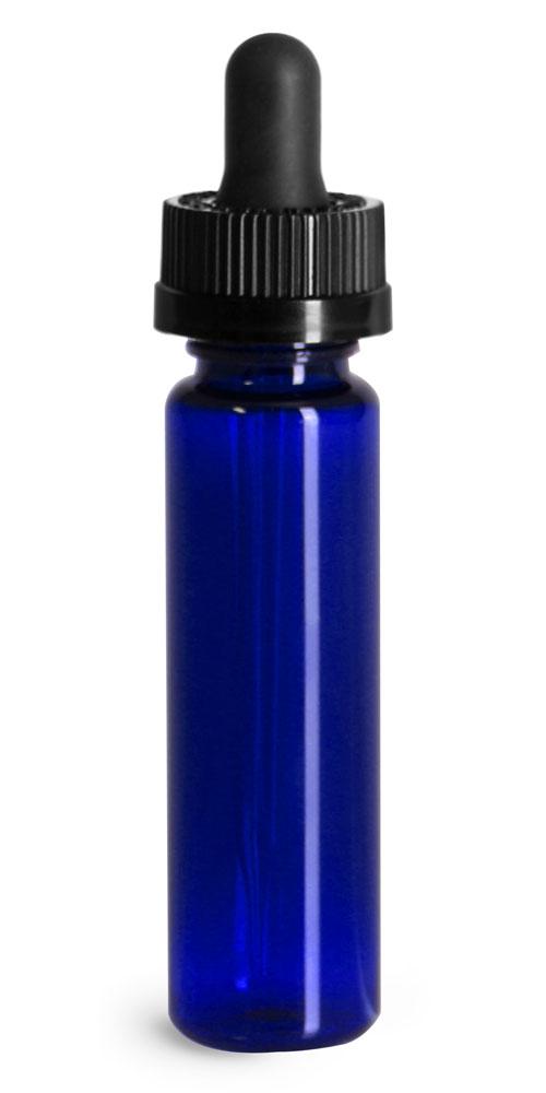 Plastic Bottles, Blue PET Slim Line Cylinders w/ Black Child Resistant Glass Droppers