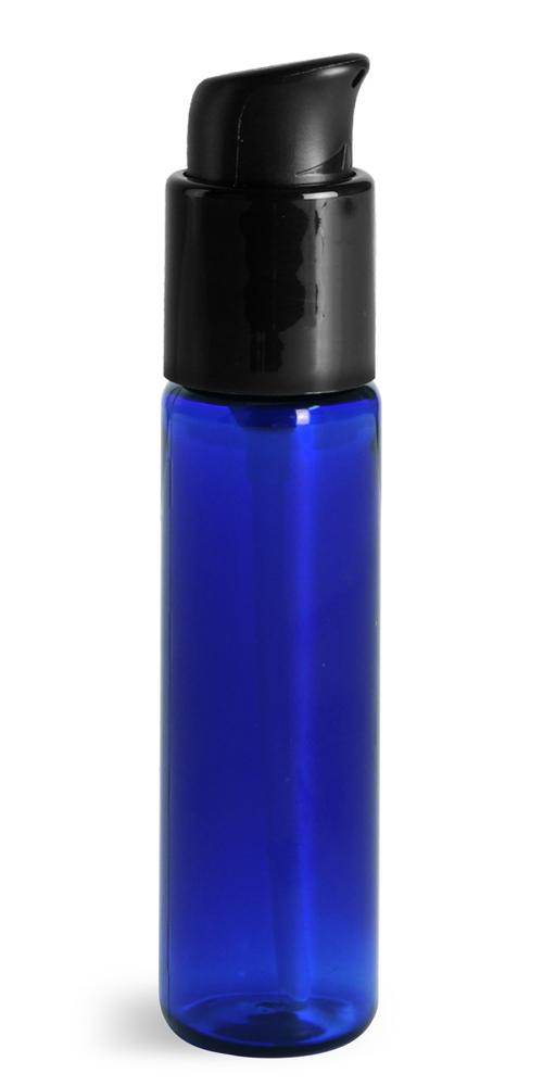 1 oz w/ Black Pumps  Blue PET Slim Line Cylinders w/ Treatment Pumps