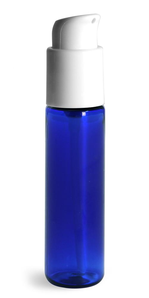 1 oz w/ White Pumps  Blue PET Slim Line Cylinders w/ Treatment Pumps