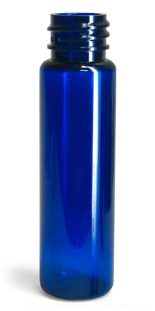 1 oz Blue PET Slim Line Cylinders (Bulk), Caps NOT Included