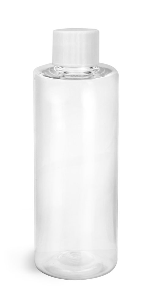 Clear PET Cylinder Round Bottles w/ White Lined Screw Caps