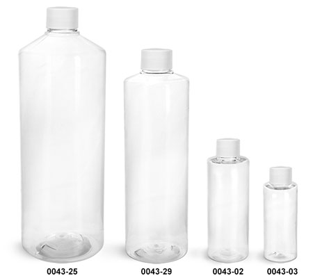 Plastic Bottles, Clear PET Cylinder Bottles w/ White Lined Screw Caps