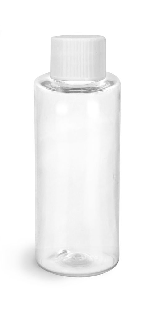 2 oz Clear PET Cylinder Round Bottles w/ White Lined Screw Caps