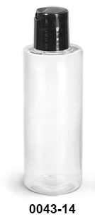 Plastic Bottles, Clear PET Cylinder Bottles w/ Black Disc Top Caps