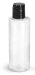 PET Plastic Bottles, Clear Cylinder Bottles w/ Black Disc Top Caps