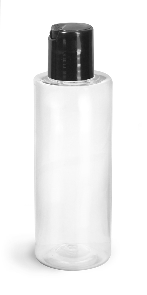 4 oz Clear PET Cylinder Round Bottles w/ Black Disc Top Caps
